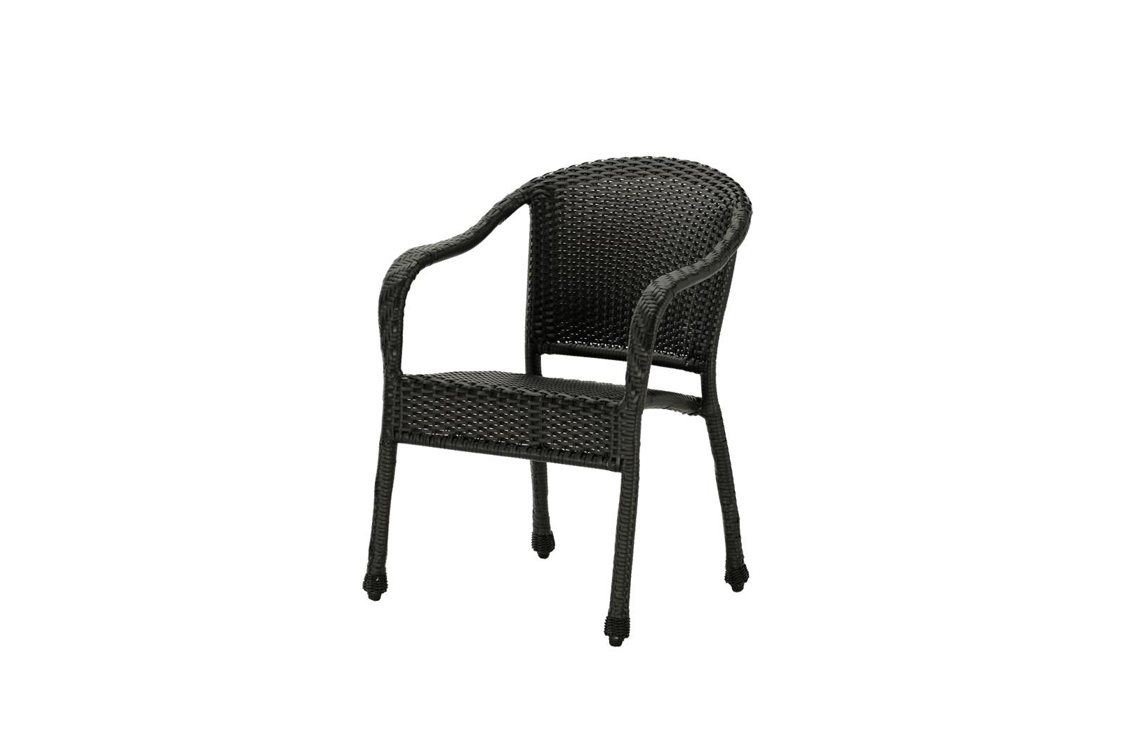 Outdoor Sun valley dining chair in dark wicker.