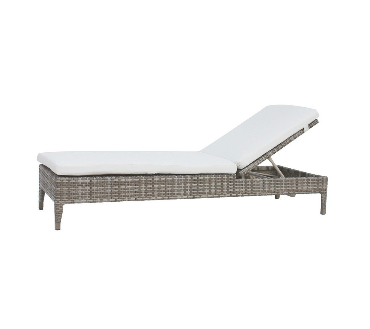 Ratana Tuscany adjustable lounger in taupe wicker with cream cushion.