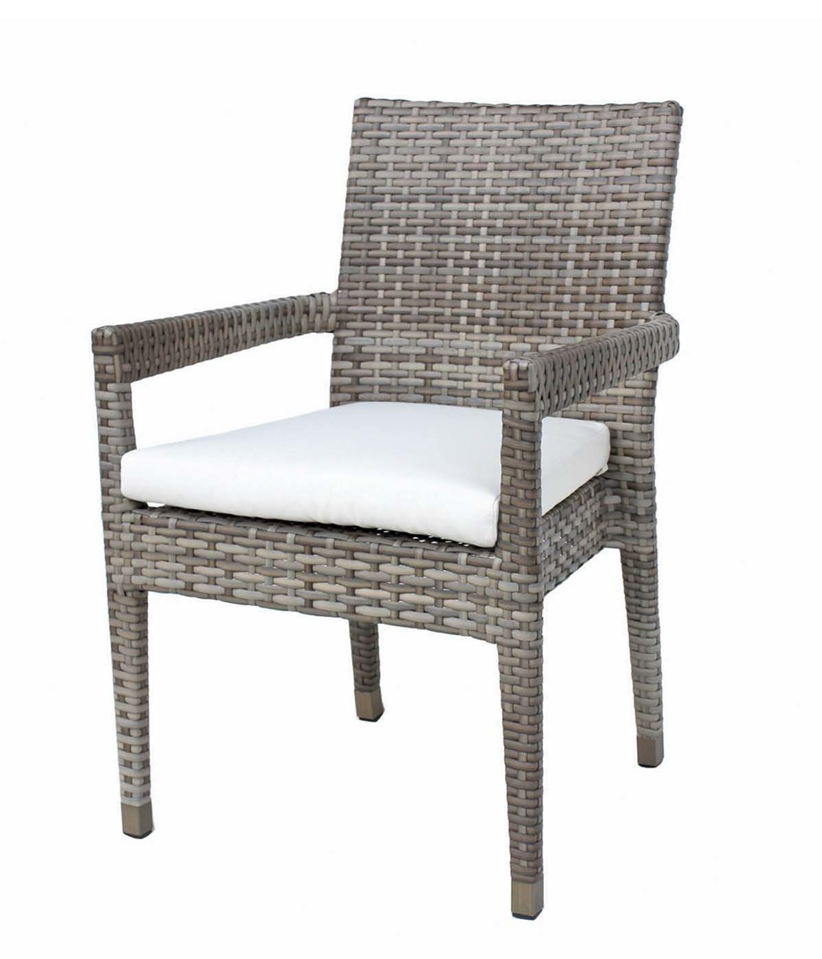 Tuscany dining arm chair in light brown wicker with cream cushion