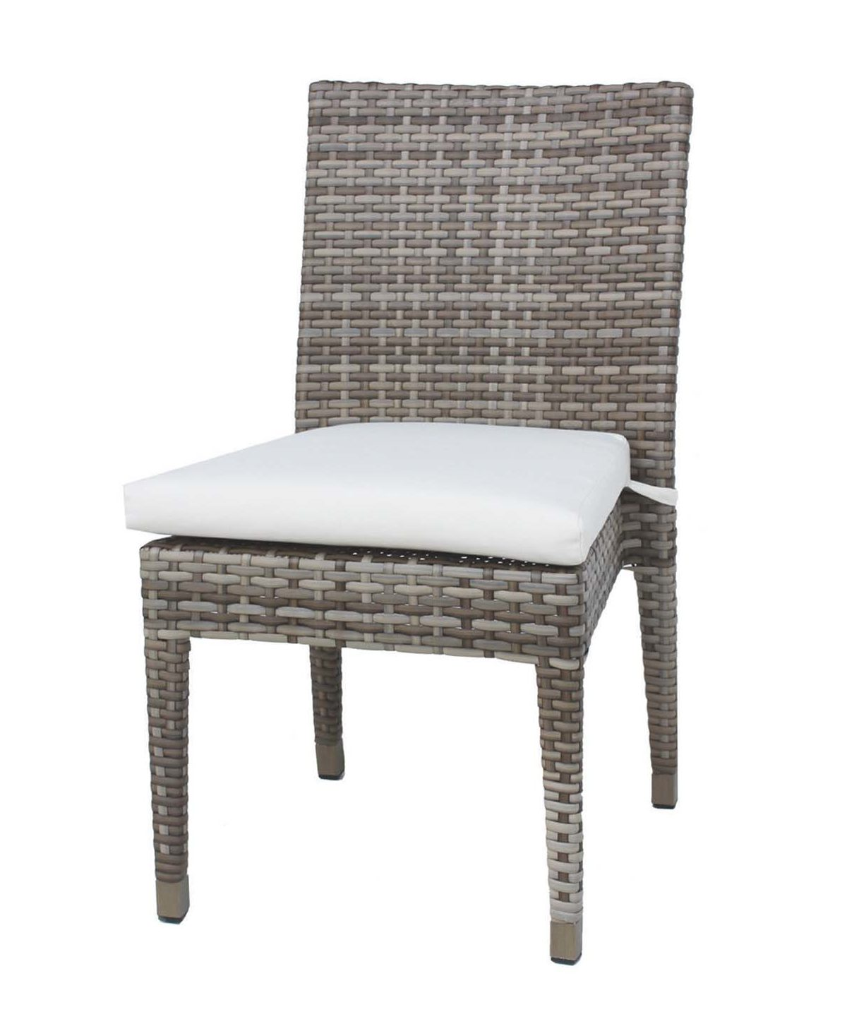Tuscany dining side chair in taupe wicker with cream seat cushion.