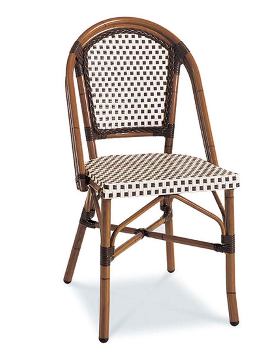 Ratana Victoria side chair in coffee color nylon weave.