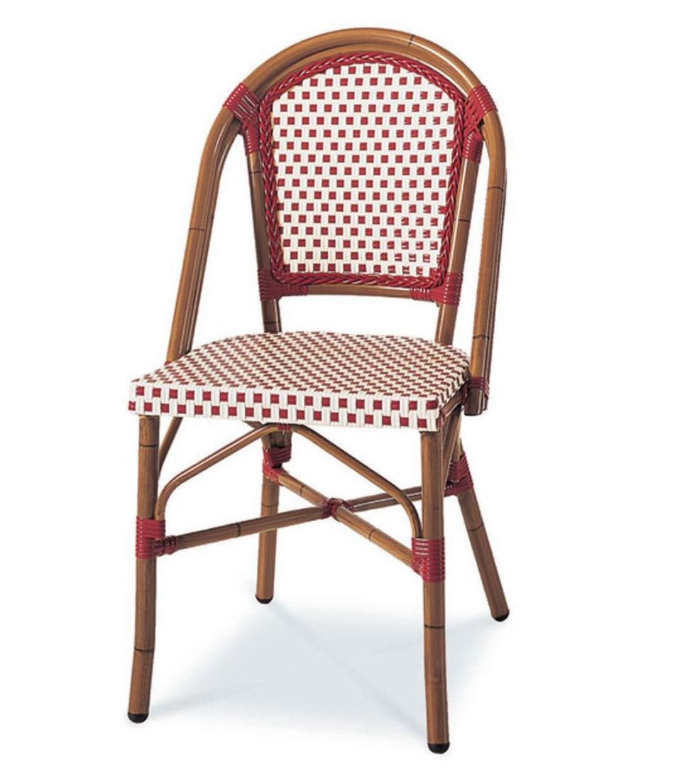 Victoria stacking side chair with brown frame and red and white checkered seat and back.