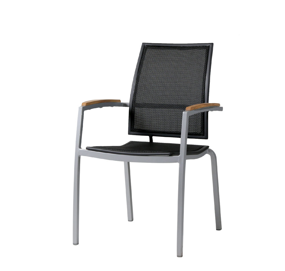 Zunix sling arm chair in black mesh, aluminum frame and teak wood arms.