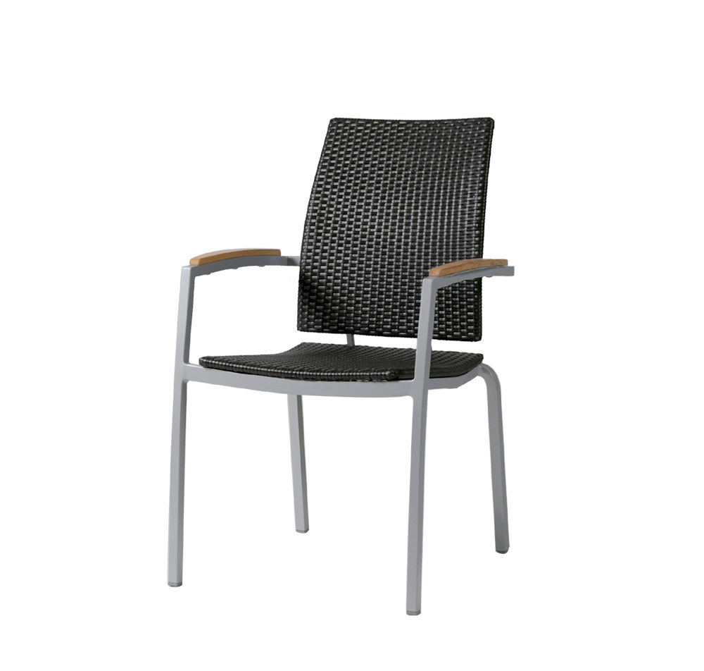 Zunix dining arm chair with grey frame, dark wicker body and wood arm rests.
