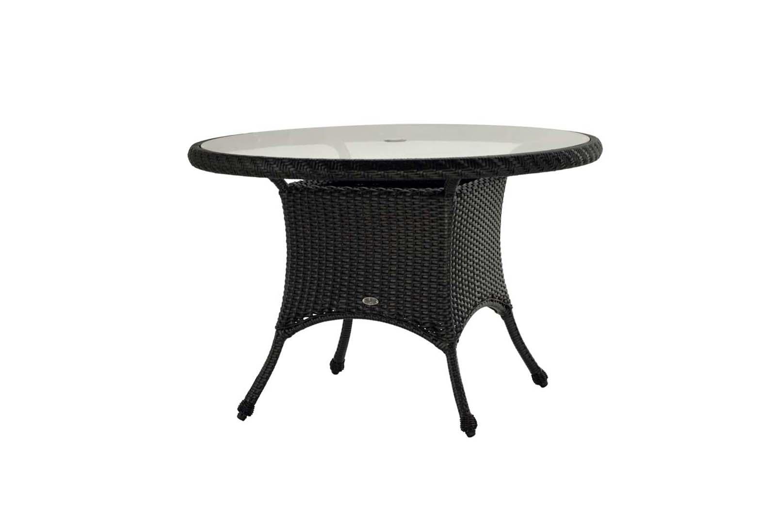"""Sun Valley dining table in 42"""" round size in dark wicker."""