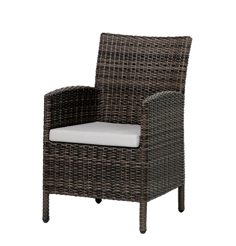 The Coral Gables dining chair in Wild Truffle wicker with cream seat cushion.