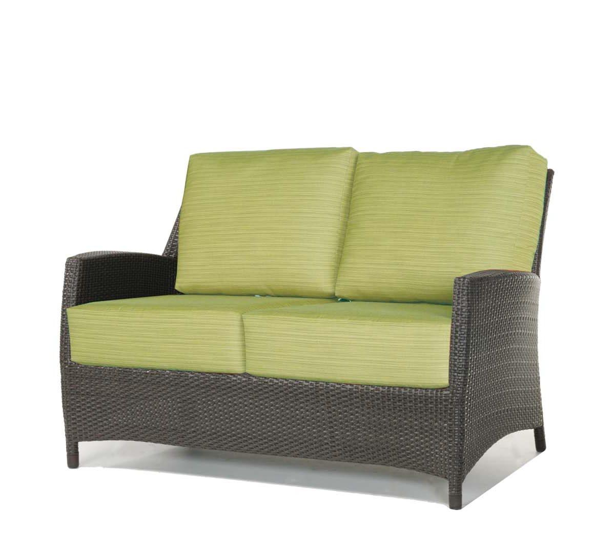 Palm Harbor loveseat Ratana in espresso frame & green striped cushions.