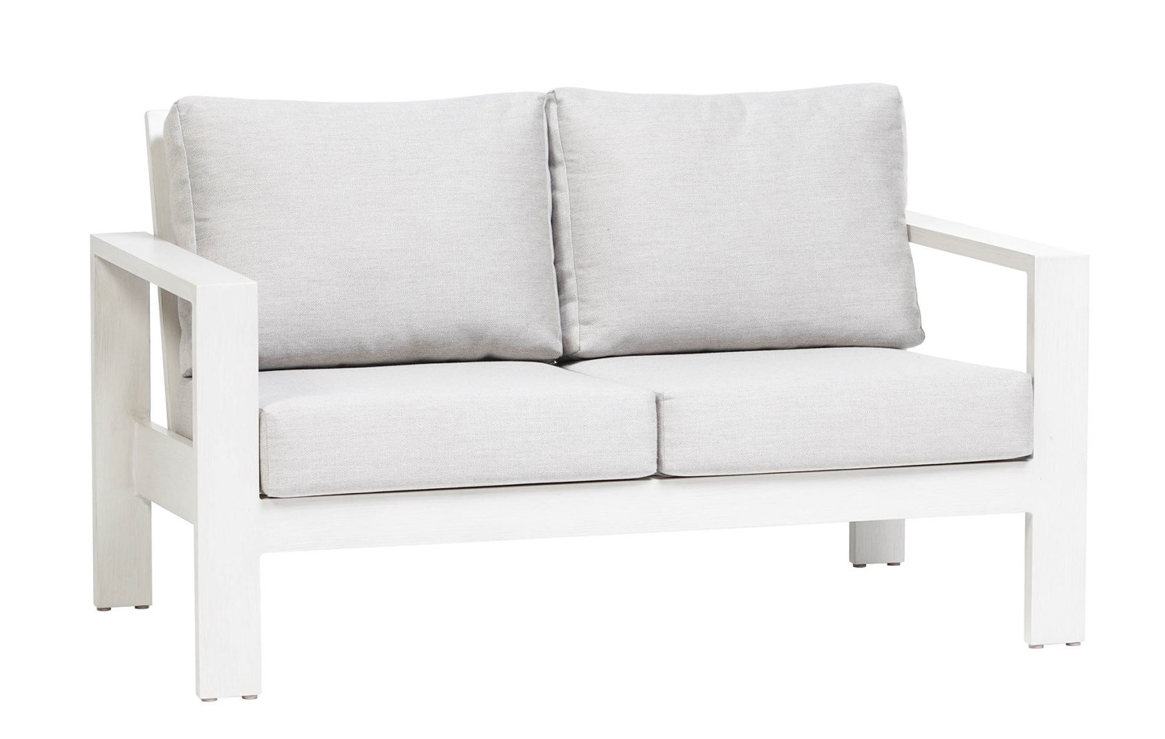 The Park Lane love seat by Ratana with white frame and light grey colored cushions.