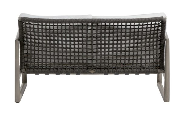 the backside of a Park West love seat, showing the rope mesh design.