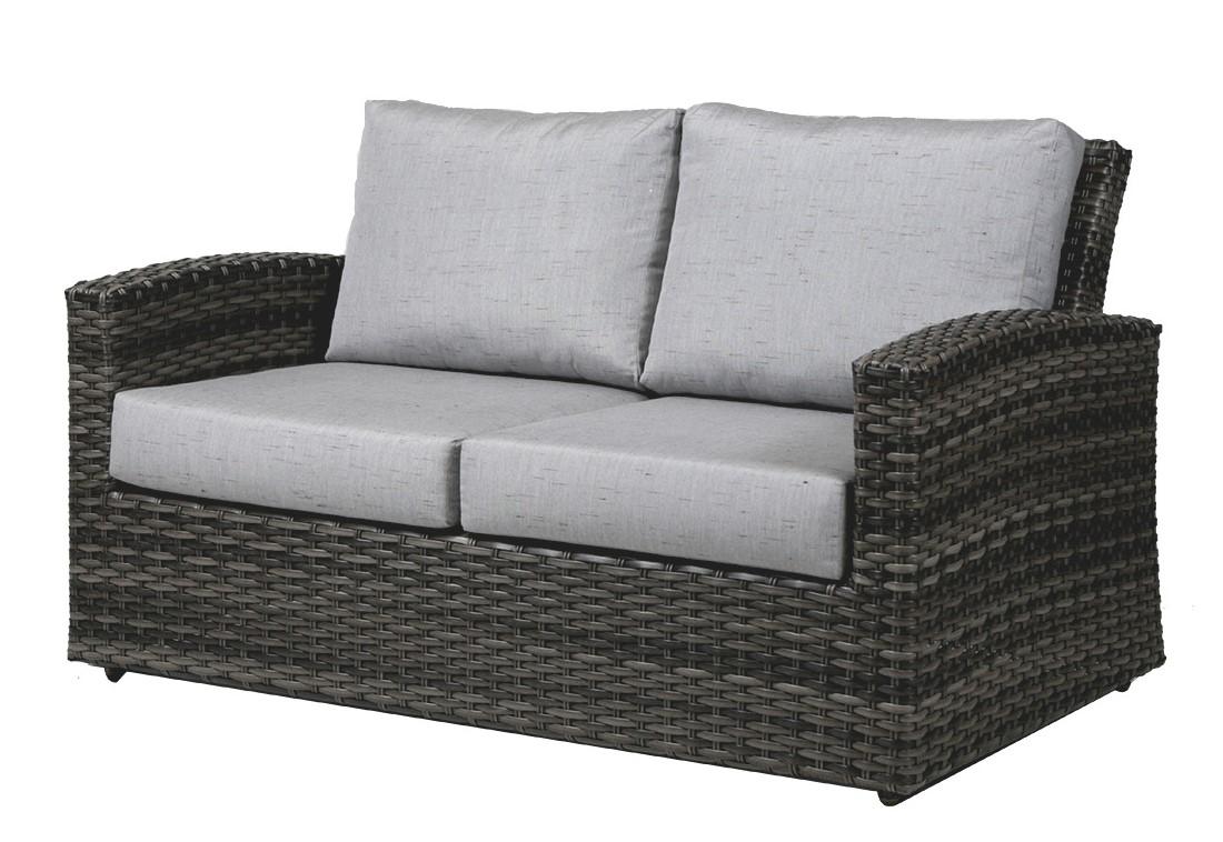 The Ratana Portofino love seat in grey wicker with light grey cushions.