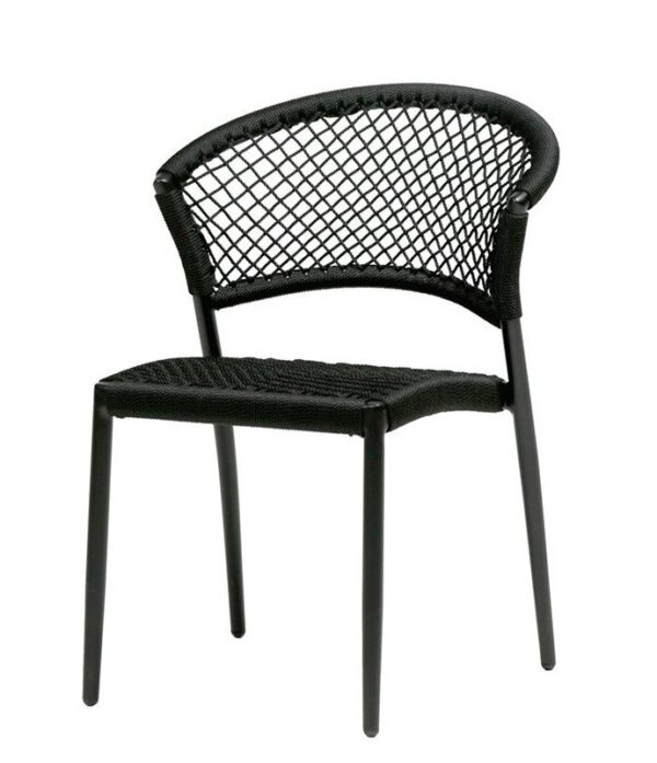 Ria dining chair by Ratana in black rope design.