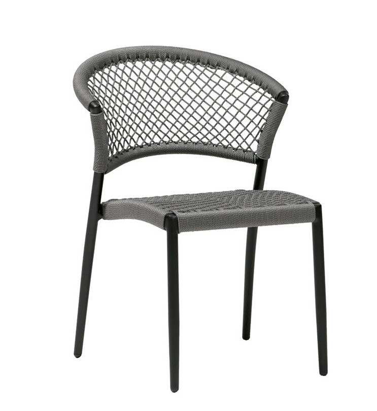 The Ria dining chair by Ratana shown in grey rope color.