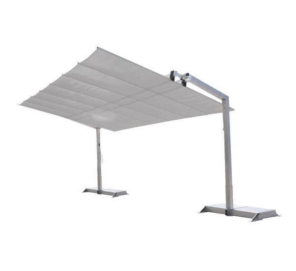 A Fim Flexy shade system in white canopy with silver frame.