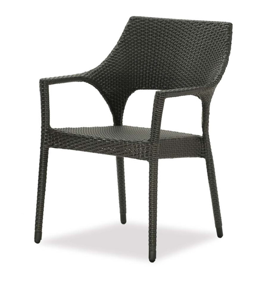 New Miami stacking chair in leather antique brown color wicker resin.