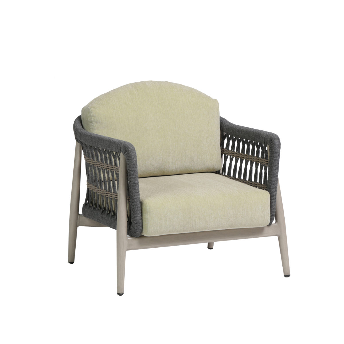 The Coconut Grove club chair with aloe green cushions and dual rope colored design.