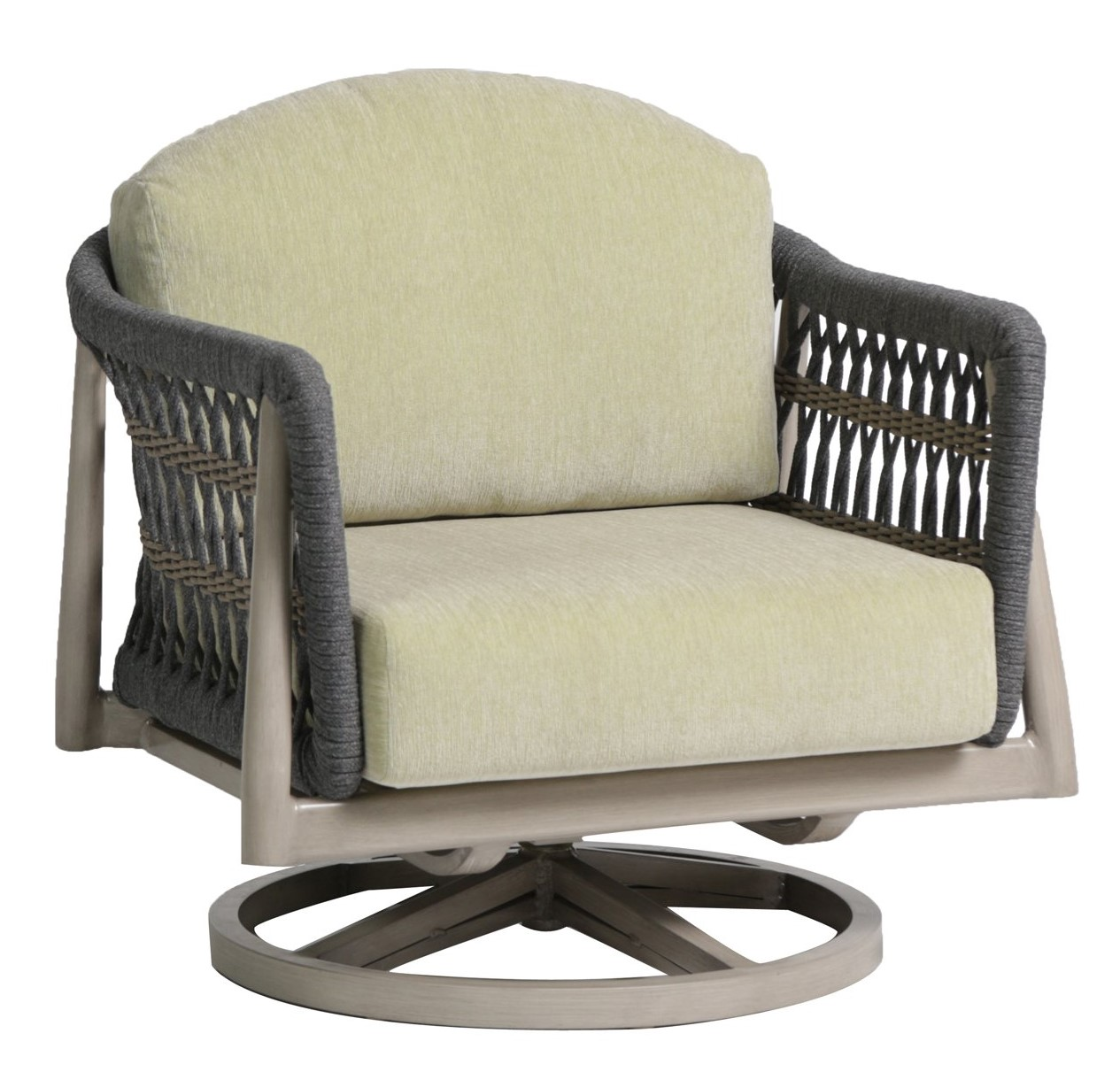 The Coconut Grove swivel rocker chair with aloe green cushions and grey rope sides.