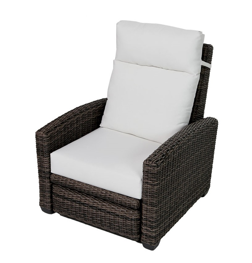 The Coral Gables swivel recliner with cream cushions.