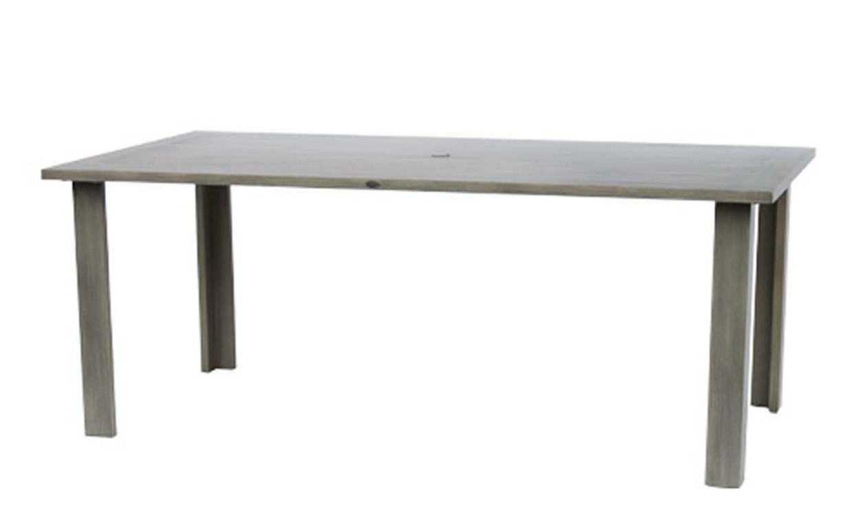 Limo dining table shown in ash grey color.
