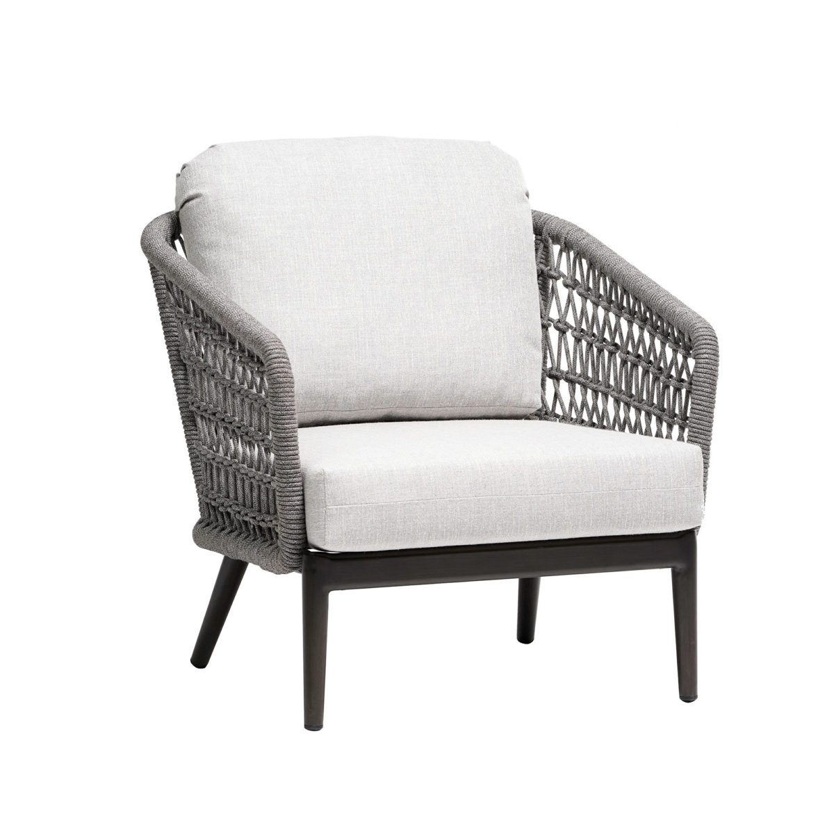 The Poinciana club chair with cream cushions and grey rope backing.