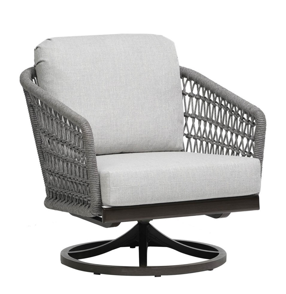 The Poinciana swivel rocker chair in grey rope with light grey cushions.