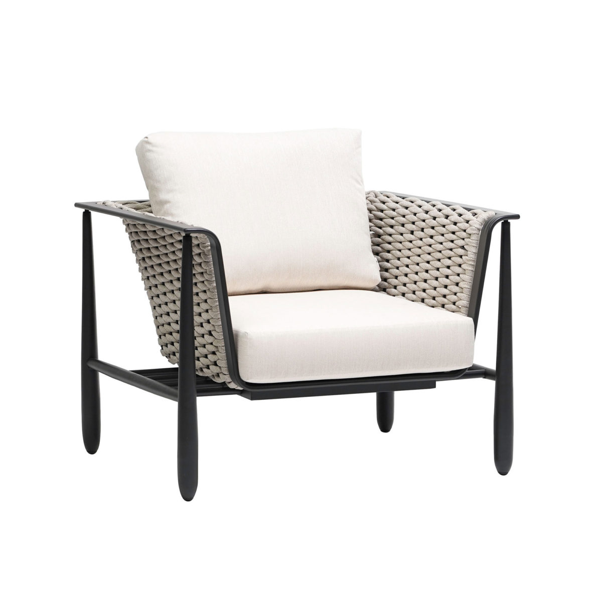 The Diva club chair in graphite grey frame with cream cushions.