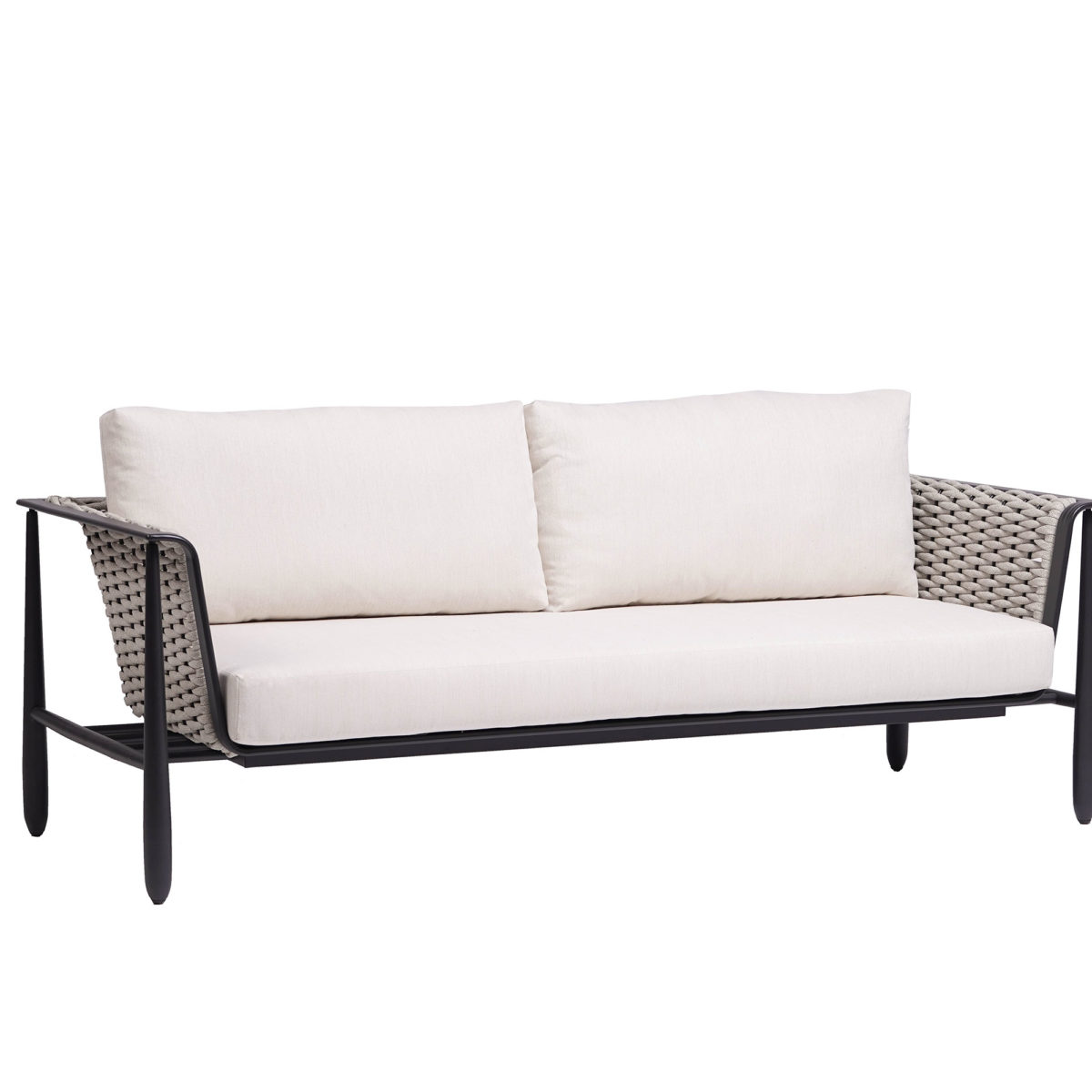 The Diva sofa Ratana in dark grey frame with cream cushions.