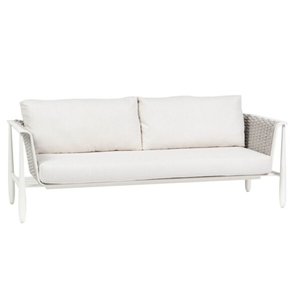 The Diva sofa Ratana shown in white frame with cream cushions.