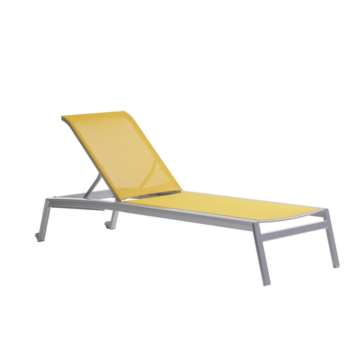 The Ratana Lyon adjustable lounger in solar yellow.
