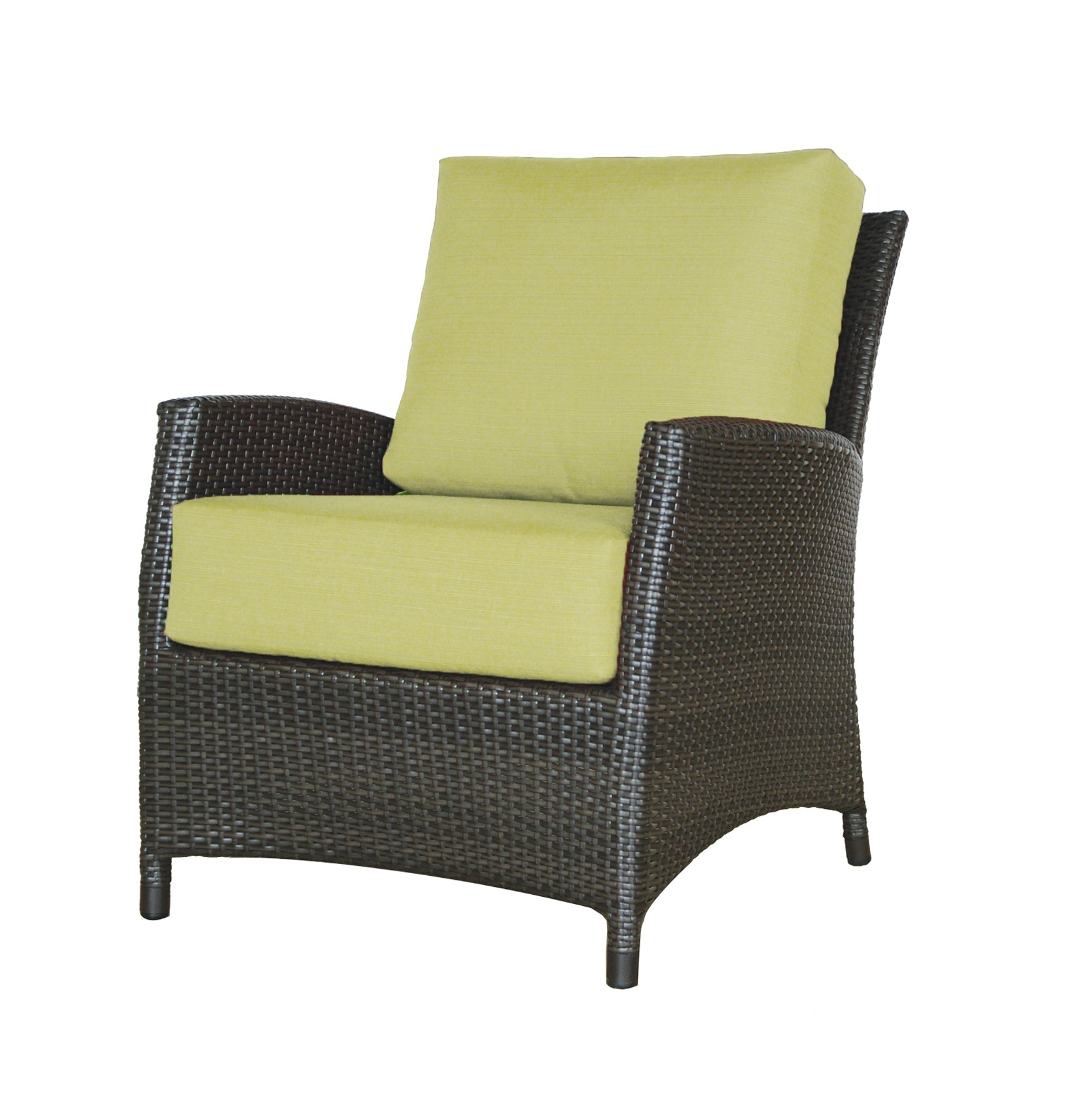 The Palm Harbor club chair in classic wicker resin with green cushions.