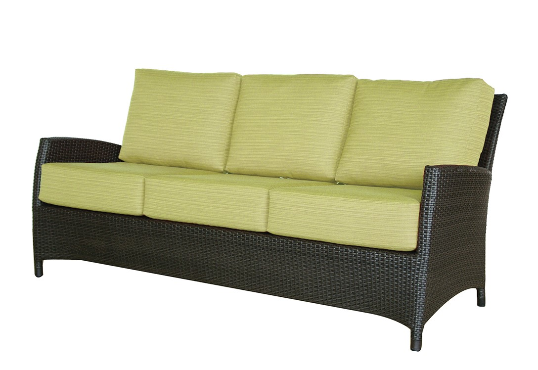 The Palm Harbor sofa Ratana with slim arms, espresso wicker and striped green cushions.