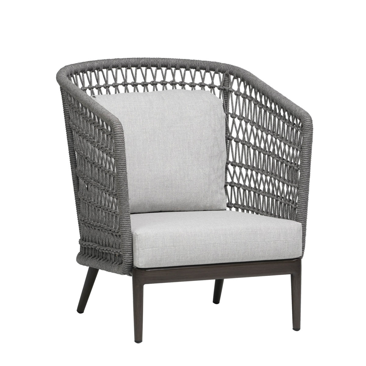 The Poinciana high back chair, featuring grey rope backing and light grey cushions.