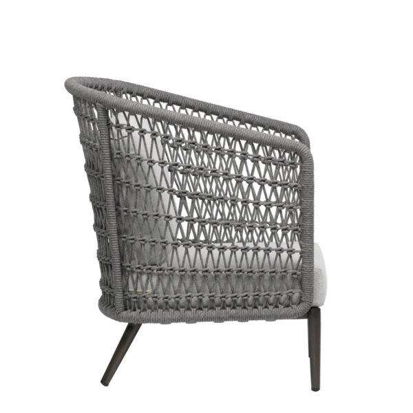 Side view of the Poinciana high back chair, showcasing it's grey rope design.