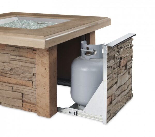 the Sierra square fire table showing propane tank door.