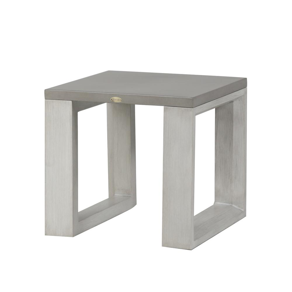 The Element 5.0 end table in white wash frame.
