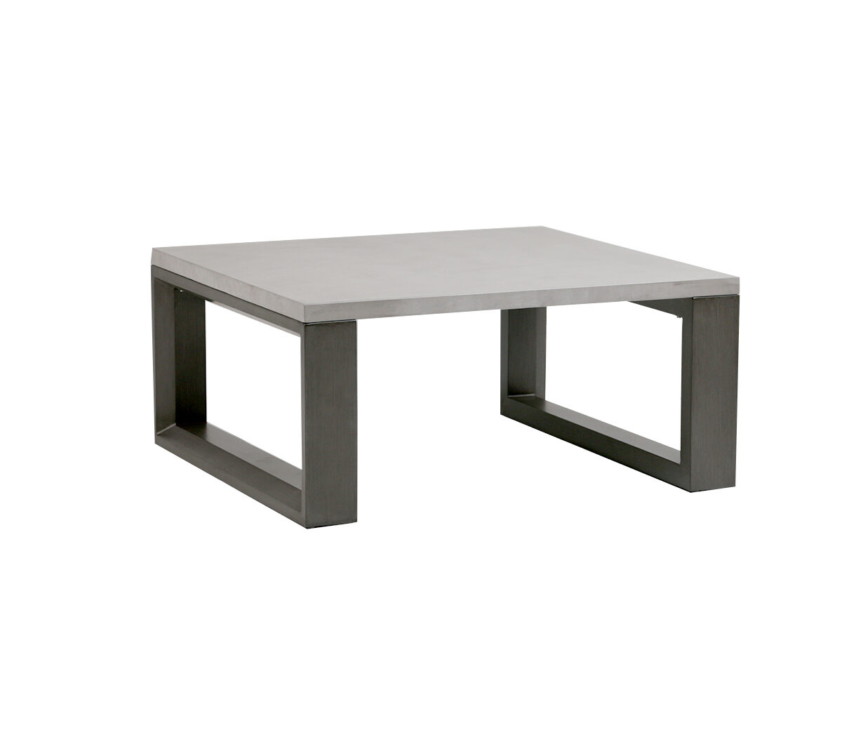 The Element square coffee table by Ratana with Ash Grey frame.