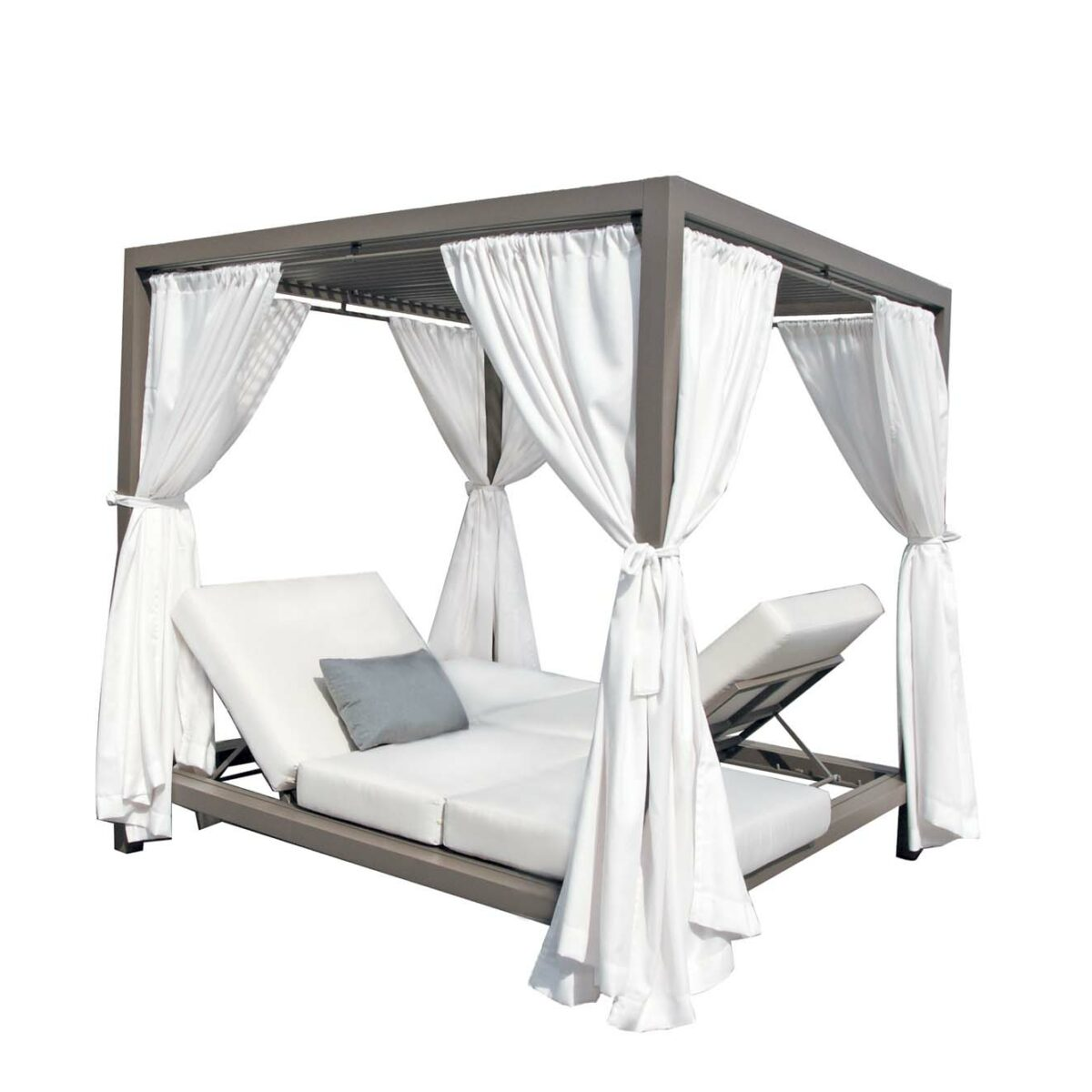 The Gianna daybed by Ratana with white curtains.