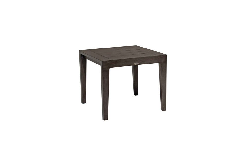 The Lucia end table by Ratana in Ash Grey metal.