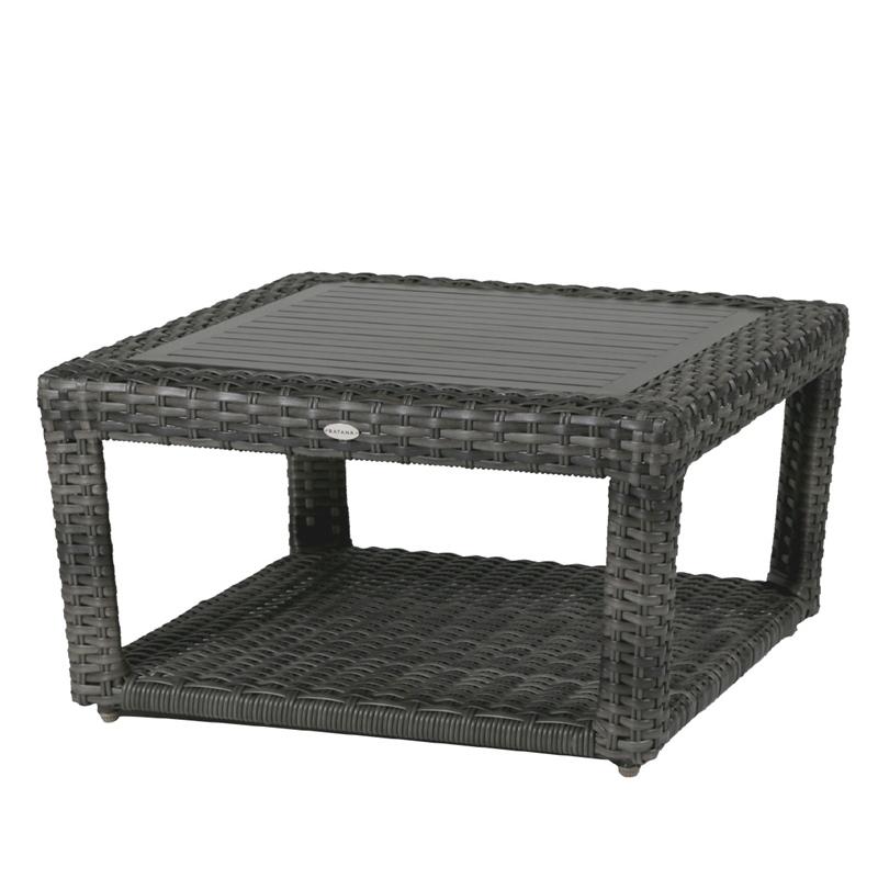 The Portofino coffee table in grey wicker.