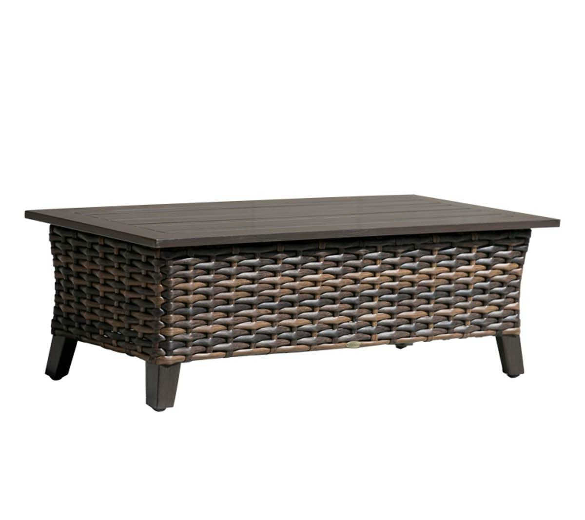 The Whidbey Island coffee table in brown wicker.