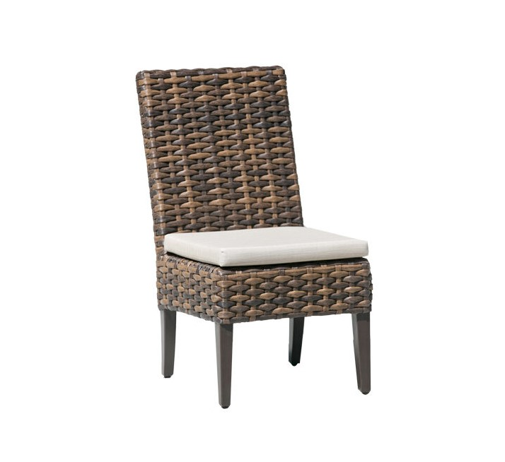 The Whidbey Island dining side chair in brown wicker with cream cushion.