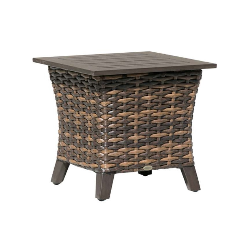 The Whidbey Island end table by Ratana, in brown wicker with brown metal top.