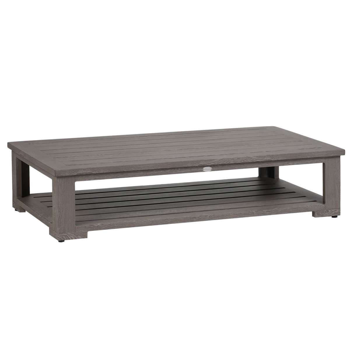 The Cubo coffee table in a pearl grey metal finish.