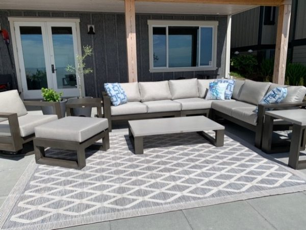 The Element sectional with club chair, ottoman and coffee table.