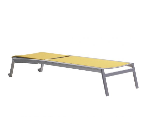 The lyon lounger in solar laying flat.