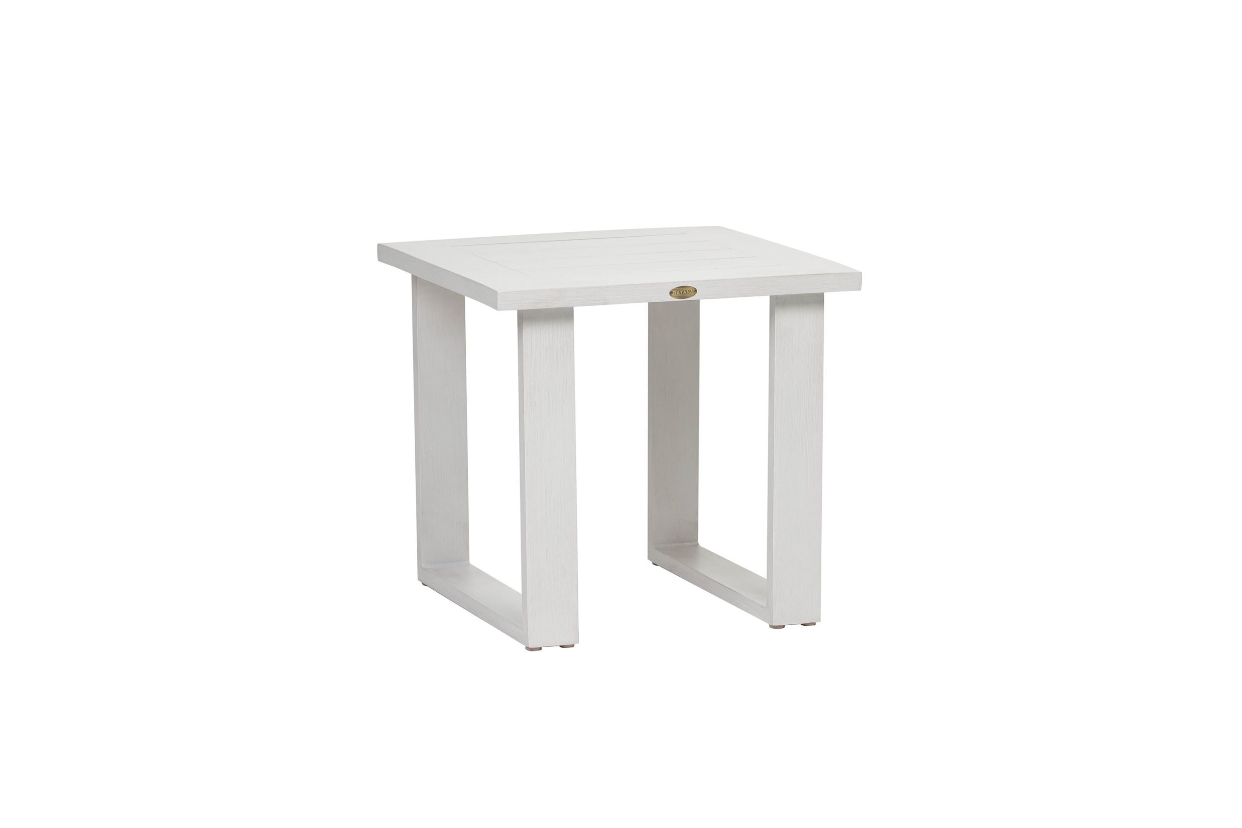 The Park Lane end table by Ratana shown in white.