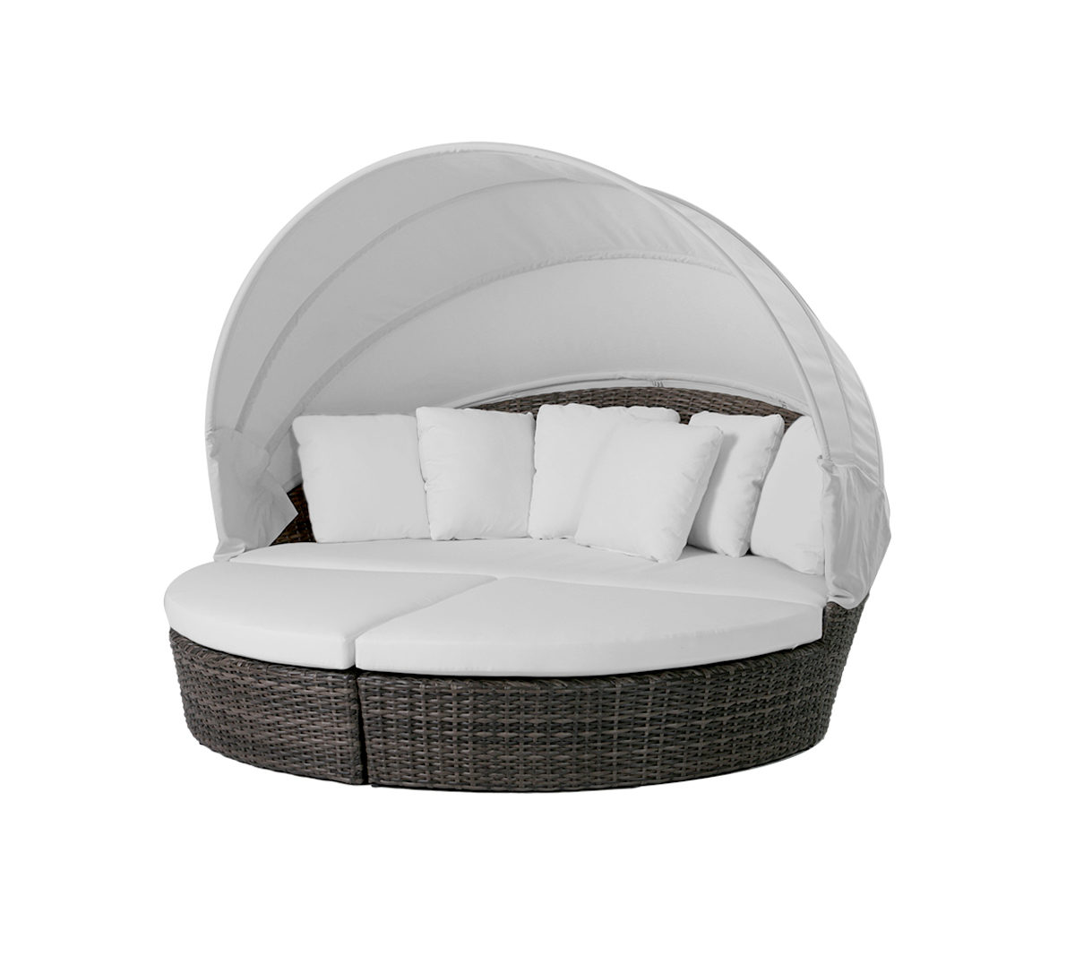 The Coral Gables cabana daybed in brown frame with white cushions and canopy.